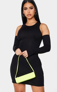 PrettyLittleThing - Shape Black Jersey Cut Out Sleeve Detail Bodycon Dress, Black