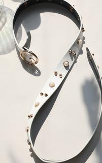 PrettyLittleThing - White Studded Pearl Waist Belt, White