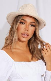 PrettyLittleThing - White All Over Pearl Fedora, White