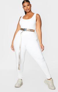 PrettyLittleThing - Plus Stone Reversible Taping Belt, White