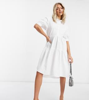 Missguided - Kurzärmliges Hemdkleid mit extremem Oversize-Schnitt-Weiß