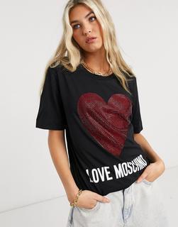 Love Moschino - Schwarzes T-Shirt mit klassischem Herzlogo