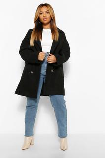 boohoo - Womens Plus Zweireihiger Mantel In Übergröße Und Wolloptik - Schwarz - 48, Schwarz