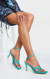 PrettyLittleThing - Turquoise Multi Strap Square Toe Thong Heeled Sandals, Blue
