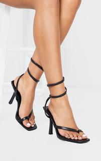 PrettyLittleThing - Black PU Square Toe Spring Ankle Strap Heel Sandals, Black