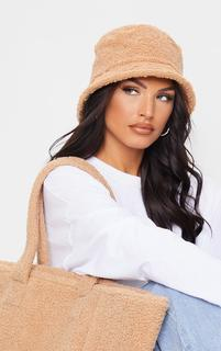 PrettyLittleThing - Tan Borg Bucket Hat, Brown