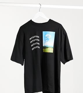 Collusion - Schwarzes Oversize-T-Shirt mit Print