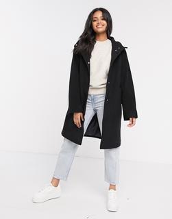 ASOS DESIGN - Strukturierter Mantel mit Kapuze in Schwarz