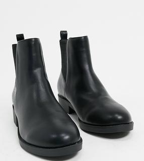 London Rebel - Schwarze Chelsea-Stiefel in weiter Passform