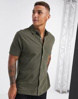 Burton Menswear - Kurzärmliges Pikee-Hemd in Khaki-Grün