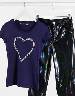 Love Moschino - T-Shirt mit großem Herz-Logo in Blau