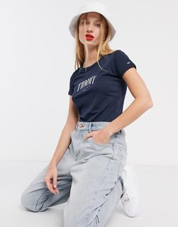 Tommy Jeans - Blaues T-Shirt mit klassischem Logo-Navy