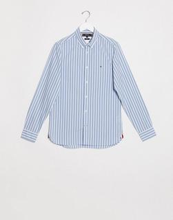 TOMMY HILFIGER - Blau gesteiftes, schmales Hemd