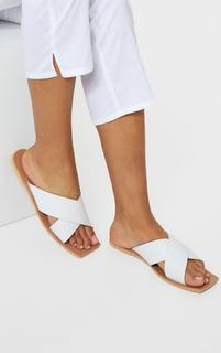 PrettyLittleThing - White Square Toe Leather Cross Over Strap Leather Mule Sandals, White