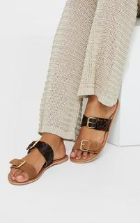PrettyLittleThing - Tan Twin Strap Buckle Trim Leather Mule Sandals, Brown