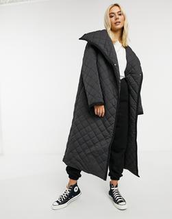 ASOS DESIGN - Langer Mantel mit Rautensteppmuster in Schwarz