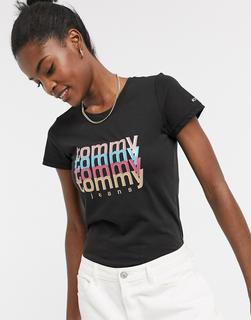 Tommy Jeans - Schwarzes T-Shirt mit mehrfarbigem Logo