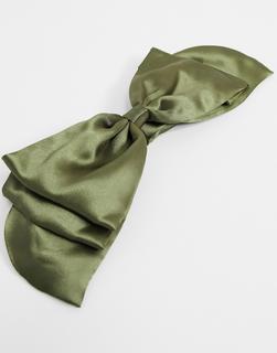 ASOS DESIGN - Satin-Haarreif mit Schleife in Khaki-Grün