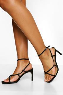 boohoo - Womens Wide Fit Asymmetric Heel Sandals - Black - 4, Black