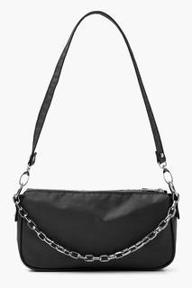 boohoo - Womens Nylon Chain Detail Shoulder Bag - Black - One Size, Black
