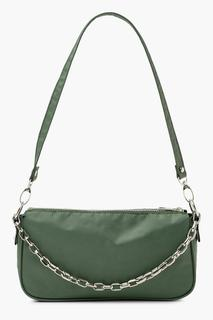 boohoo - Womens Nylon Chain Detail Shoulder Bag - Green - One Size, Green