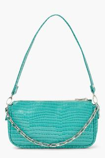boohoo - Womens Chain Detail Croc Shoulder Bag - Green - One Size, Green