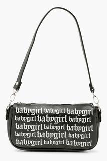 boohoo - Womens Baby Girl Slogan Graffiti Shoulder Bag - Black - One Size, Black