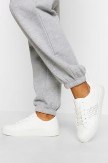 boohoo - Womens Woman Side Stripe Basic Flat Trainers - White - 4, White
