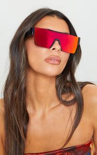 PrettyLittleThing - Black Revo Lens Cut Out Square Frame Sunglasses, Black
