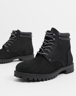 Jack & Jones - Schwarze Stiefel aus Nubukleder