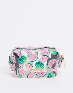 Skinnydip - Kleine Make-up-Tasche mit Wassermelonen-Print-Mehrfarbig