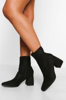 boohoo - Womens Stiefel Mit Quadratischer Zehenpartie Und Blockabsatz - Schwarz - 38, Schwarz