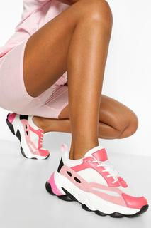 boohoo - Womens Super Chunky Multi Panel Trainers - Pink - 4, Pink