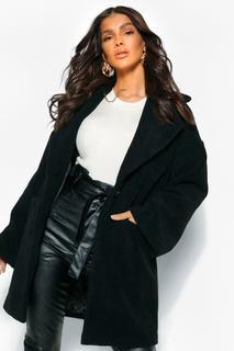 boohoo - Womens Strukturierter, Luxuriöser Mantel In Wolloptik - Schwarz - 34, Schwarz