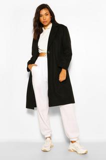 boohoo - Womens Luxuriöser, Eng Anliegender Mantel In Gebürsteter Wolloptik - Schwarz - 36, Schwarz