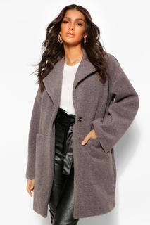boohoo - Womens Strukturierter, Luxuriöser Mantel In Wolloptik - Grau - 42, Grau