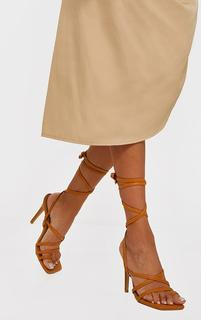 PrettyLittleThing - Sand Square Toe Strappy Lace Up High Heeled Sandals, Sand