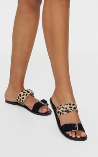 PrettyLittleThing - Black Twin Strap Buckle Trim Leather Mule Sandals, Black