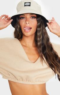 PrettyLittleThing - Stone Branded Bucket Hat, White
