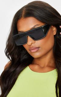 PrettyLittleThing - Black Studded Side Lens Square Frame Sunglasses, Black