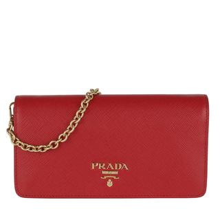 Prada - Umhängetasche - Logo Wallet On Chain Saffiano Leather Fuoco - in rot - für Damen