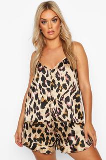 boohoo - Womens Plus Leopard Button Down Cami Frill Hem Pyjamas - Multi - 24, Multi