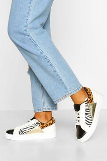 boohoo - Womens Mixed Animal Print Flat Trainers - White - 6, White