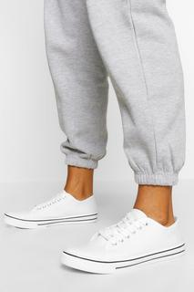 boohoo - Womens Lace Up Canvas Flat Trainers - White - 3, White
