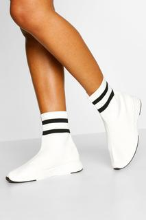 boohoo - Womens Knitted Sock Trainers - White - 6, White