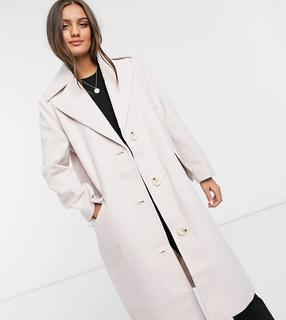 ASOS Petite - ASOS DESIGN Petite – Rosa Oversize-Mantel mit durchgehendem Knopfverschluss