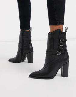 Bronx - Ankle Boots aus Leder mit Absatz und Schnallenverzierung in Schwarz