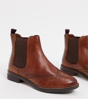 Dune - Wide Fit – Quentons – Chelsea-Stiefel aus hellbraunem Leder-Bronze