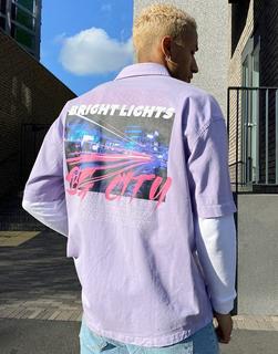 Bershka - Bedrucktes Hemd in Violett