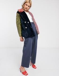 Palones - Debbie – Bunter Mantel aus Teddyfell-Mehrfarbig